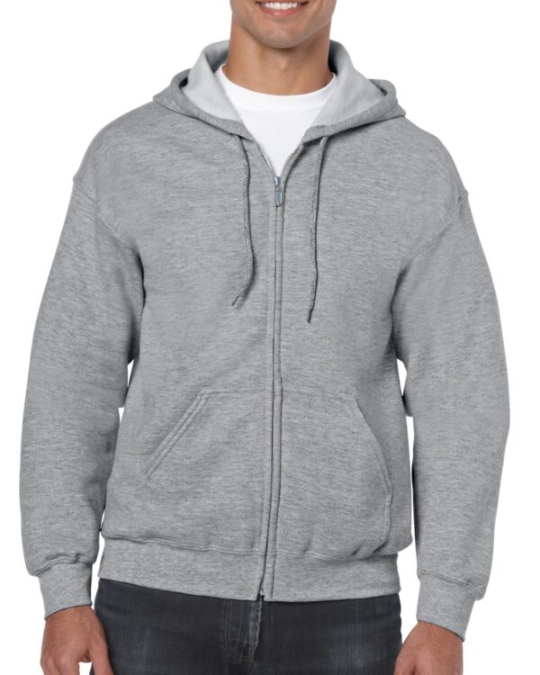 model wearing Gildan Heavy Blend™ Full-Zip Hooded Sweatshirt